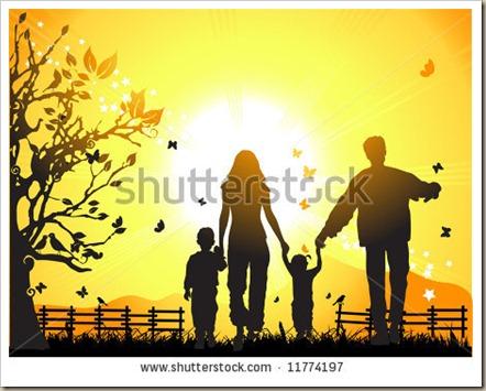 stock-vector-happy-family-walks-on-nature-sunset-11774197