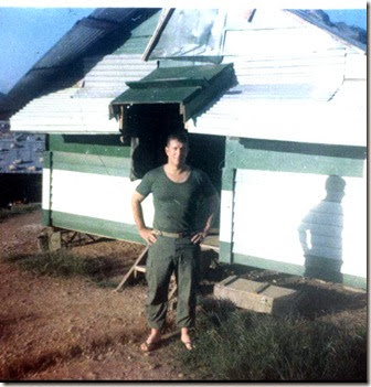 Russ outside his hooch 1-13 Da Nang 1969