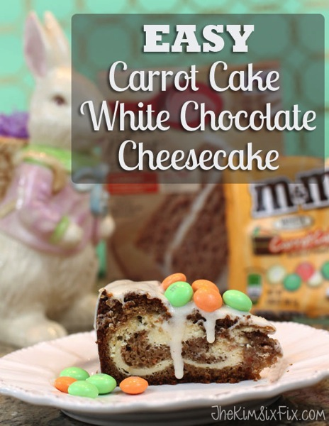 Easy to make Carrot Cake Cheesecake with Creamy White Chocolate.  So good!