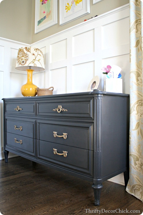 Black and brass from thrifty decor chick for Dark grey furniture paint