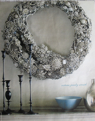 We all drool over this rhinestone pin wreath in our offices.  (Organic Style magazine)