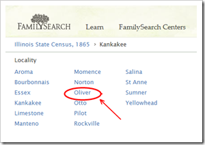 The FamilySearch.org browse hierarchy incorrectly identifies Ganeer as Oliver, Illinois