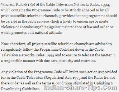 TV channels responsibility covered in cable act