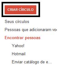 Clique em criar círculo