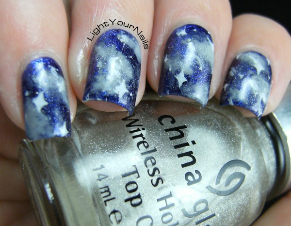 comets galaxy nail art