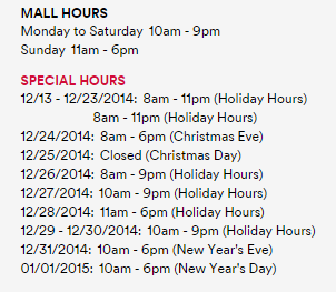 Mall Hours, Special Hours
