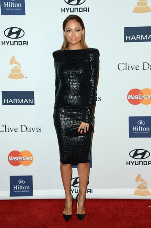 la-modella-mafia-Fashion-Week-Fall-2013-street-style-icon-Nicole-Richie-at-the-Clive-Davis-2013-pre-grammy-gala-in-a-black-crocodile-Tom-Ford-backless-mini-dress-11