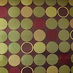 Ekskluzywna trudnopalna tkanina w kółka. Na zasłony, poduszki, narzuty, dekoracje. Purpurowa, zielona.