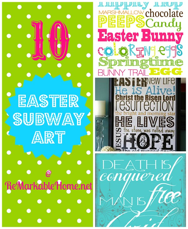 Pinteresting Tuesday @ ReMarkable Home- Ten Easter Subway Art Printables