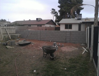 Here's our block fence thus far!!
