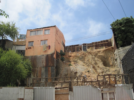 Empty building sites and collapsed structures from the Feb, 2010 earthquake.