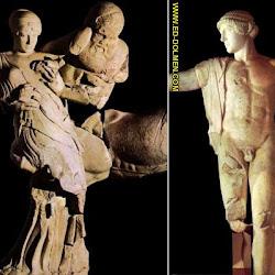 62 - Figuras de las luchas de centauros contra lapitas del timpano de Zeus en Olimpia