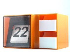 Orange, white and smoked transparent perpetual calendar