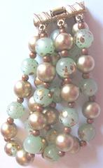 vintage green n gold bead clasp 2 bracelet