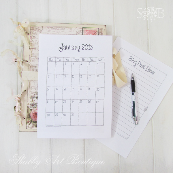 Shabby Art Boutique - Blog Planner 2