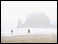 p Haystack Rock and fog