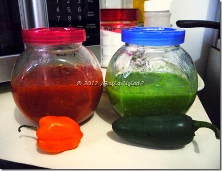 Mis salsas roja y verde hechas en el microondas