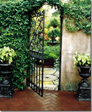 secret garden, gate wrought iron, herringbone brick