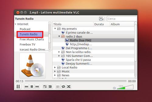 TuneIn Radio su VLC in Ubuntu 12.10