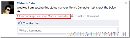 """Facebook Via"" Status Hack Awesome"
