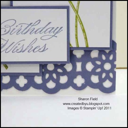 Field_FLowers, Bring_on_the_Cake, birthday, card, pearls, ruffled_ribbon, lace, lace_ribbon_Border_punch, in_Color, ruffled_ribbon, printed_Brads, createdbyu_blogspot, Sharon_field, itty_Bitty_punch_Pack
