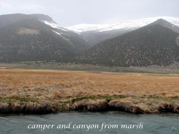 Camper and canyon from marsh
