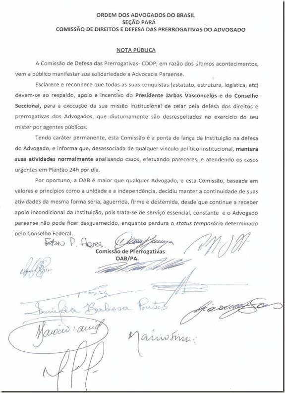 Nota da Comissão de Prerrogativas
