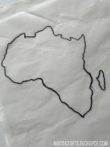 africa traced onto wax paper