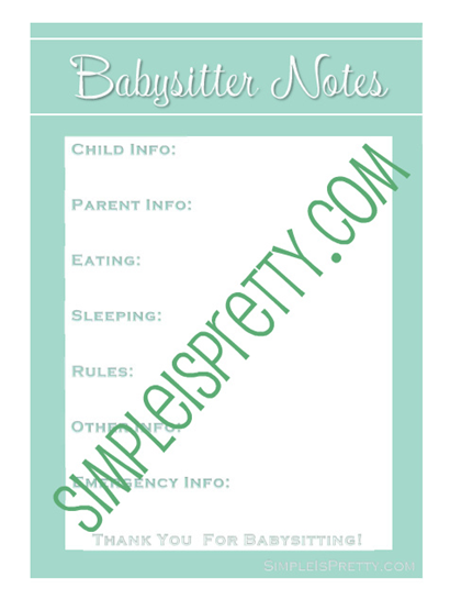 Babysitter Notes - SimpleisPretty.com