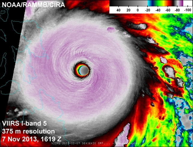 High-resolution satellite image of Super Typhoon Haiyan at its peak intensity on 7 November 2013. Photo: NOAA / CIRA
