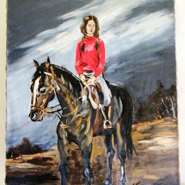 Girl riding by Tomáš Kčméry - Painting All Painting ( girl, horse, tomas krcmery, girl riding )