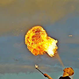Fireball by Hafsteinn Kröyer Eiðsson - Abstract Fire & Fireworks ( clouds, mushroom, bird, sky, airplane, people, fireball, fire )