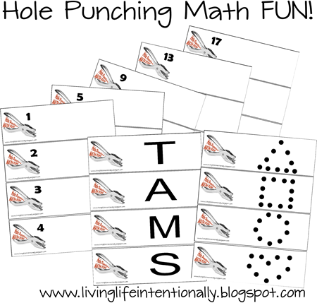 Math Games for Preschool and Kindergarten - Hole Punching FUN