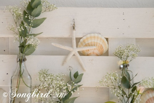 White Summer Mantel with Shells