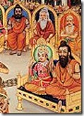 Vishvamitra and Lakshmana in Janaka's assembly