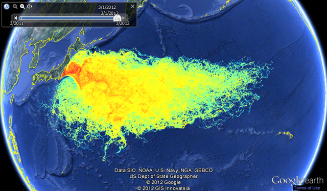 Radioactive Seawater Impact Map, March 2012. This graph shows a Lagrangian particles dispersal method to track where free floating material (fish larvae, algae, phytoplankton, zooplankton) present in the sea water near the damaged Fukushima Daiichi nuclear power station plant could have gone since the earthquake on 11 March 2011. asrltd.com