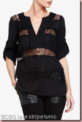 BCBGERID LACE STRIPE TUNIC