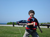 Kai flying his kite at Brenton Point in Newport