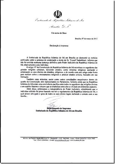 Portuguez trans-document-brazil about Nadarkhani