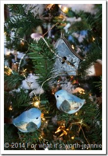 blue birds in Christmas tree