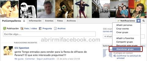 Abandonar grupo en Facebook