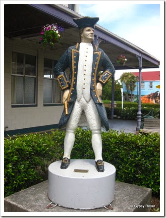 Captain Cook who discovered NZ was born in Marton England but this monument was commissioned by Marton Historical Society NZ in 2004.