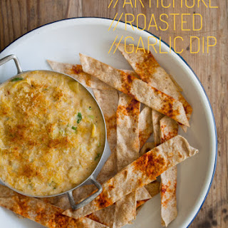 Artichoke and Roasted Garlic Dip with Baked Flatbread Sticks