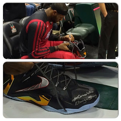 lebron james nba 140329 mia at mil 01 #LeBronMetEbony and Wrote Her Special Message on His LeBron 11 Elite PEs