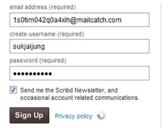 สมัครเข้าใช้งาน scribd.com ด้วย E-mail