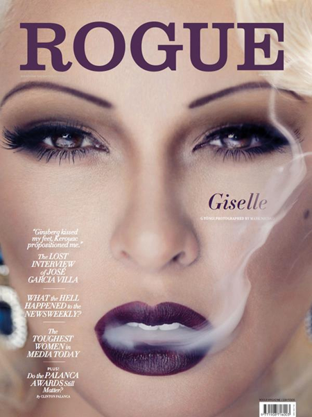 The cover shows an extreme close up of the actress while a cigarette