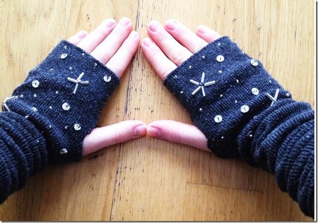 socks into fingerless gloves