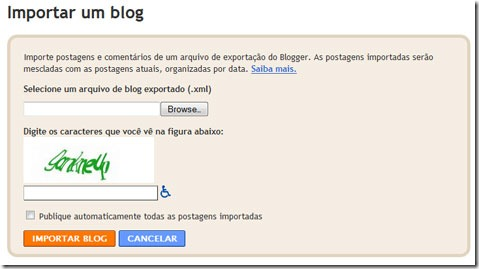 backup blog blogger Importar