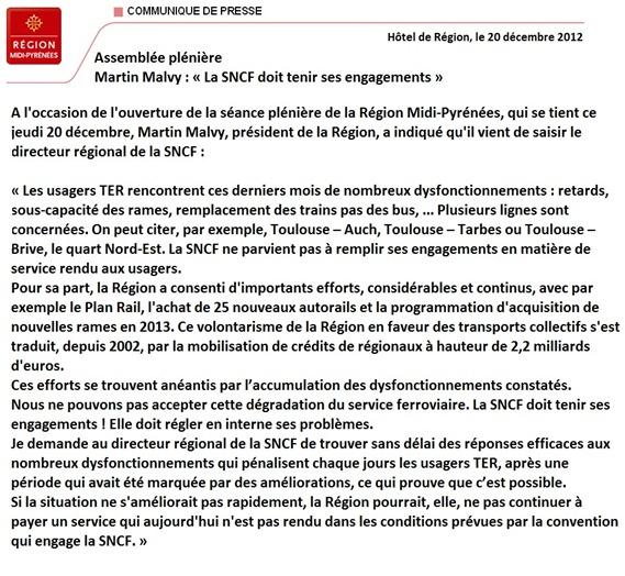 Comunicat del Conselh Regional de Miègdia-Pirinèus SNCF e contracte ambe l'entrepresa d'Estat
