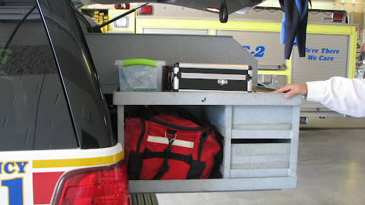 At the back of the Batallion Chiefs vehicle sits the box that contains the three animal resuscitators. (Photo by: Brittni Bynum)